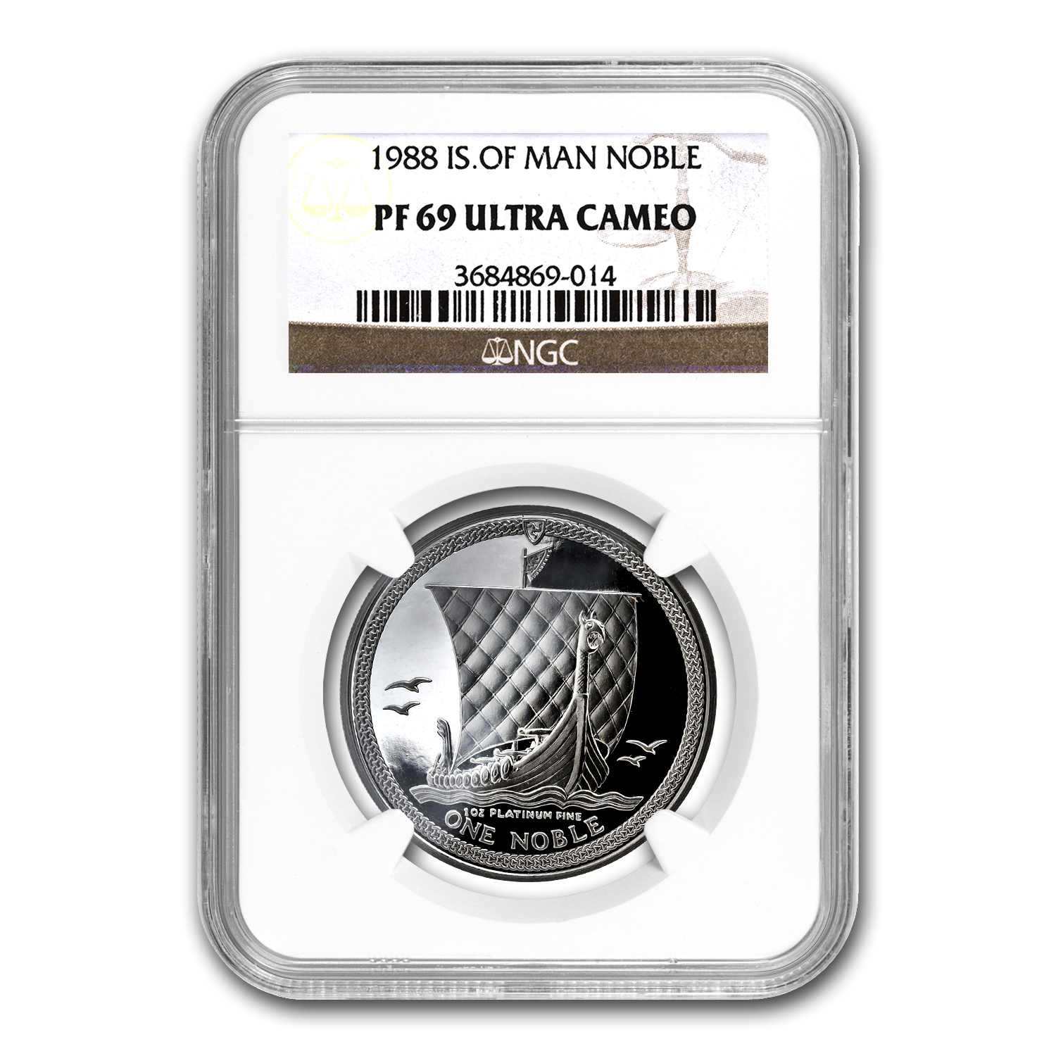 1988 Isle of Man 1 oz Platinum Noble PF-69 NGC